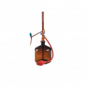 Buret tự động nâu + chai thủy tinh 2L + quả bóp Dinlab class AS 50 ml (0,1)
